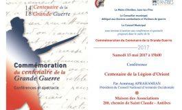 (Français) Centenaire de la Légion d'Orient - Conférence à Antibes le samedi 13 mai 2017