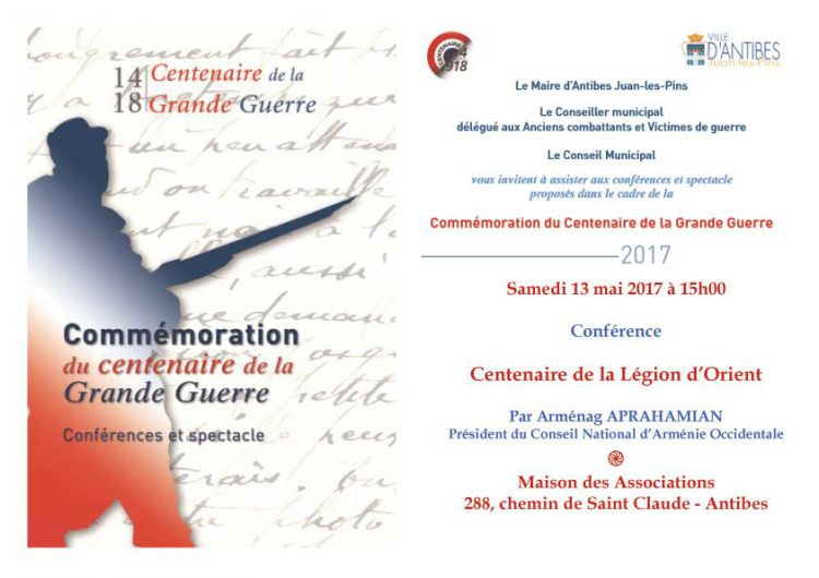 Centenaire de la Légion d'Orient – Conférence à Antibes le samedi 13 mai 2017