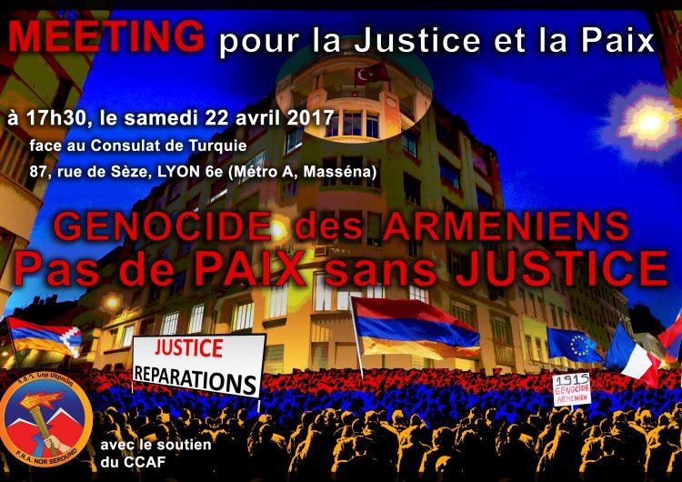 N. Lygeros: Meeting pour la Justice et la Paix. Face au consulat de Turquie à Lyon. 22/4/17
