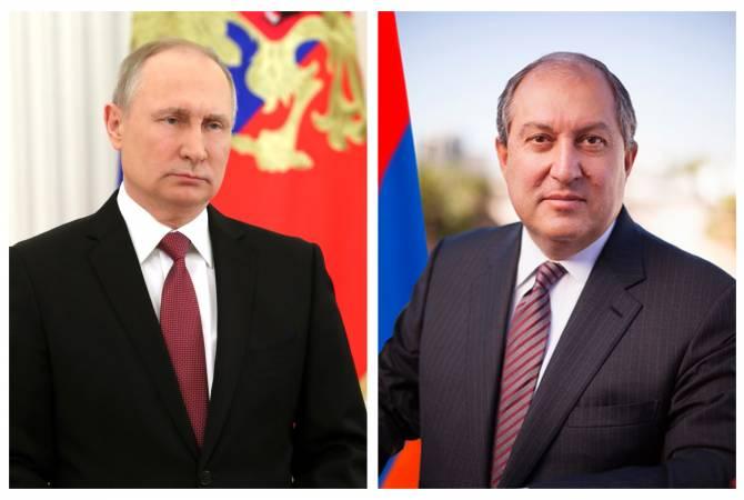 Президенты Армен Саркисян и Владимир Путин обсудили ситуацию в Армении