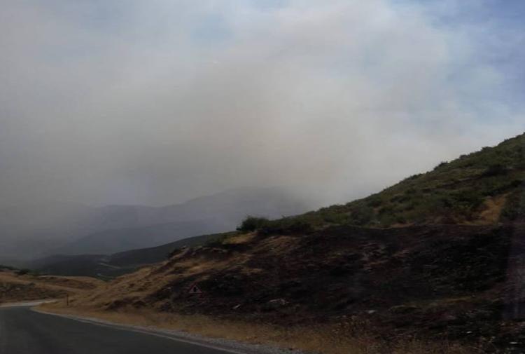Bağeş'te sokağa çıkma yasağı ilan edilen bölgede yangın