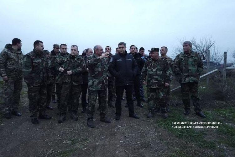Бако Саакян и Артур Ванецян посетили южную часть арцахско-азербайджанской границы