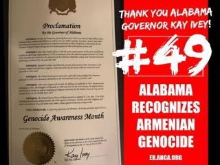 ԱՄՆ-ի Ալաբամա նահանգը ճանչցեր է Հայերու դէմ կատարուած ցեղասպանութիւնը