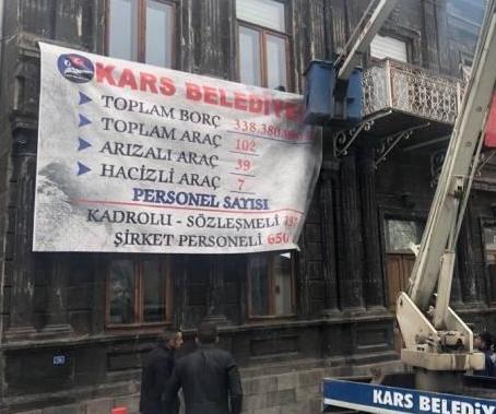 Список должников города Карс на стене армянского здания