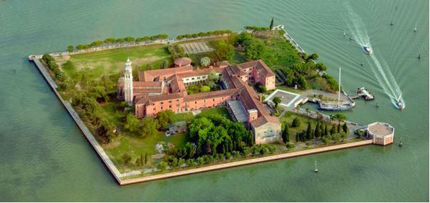 Le monastère des Pères Mekhitaristes  de l'Ile de San Lazzaro inondé