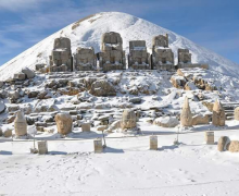 Snow cleaning works are underway in Mount Nemrut