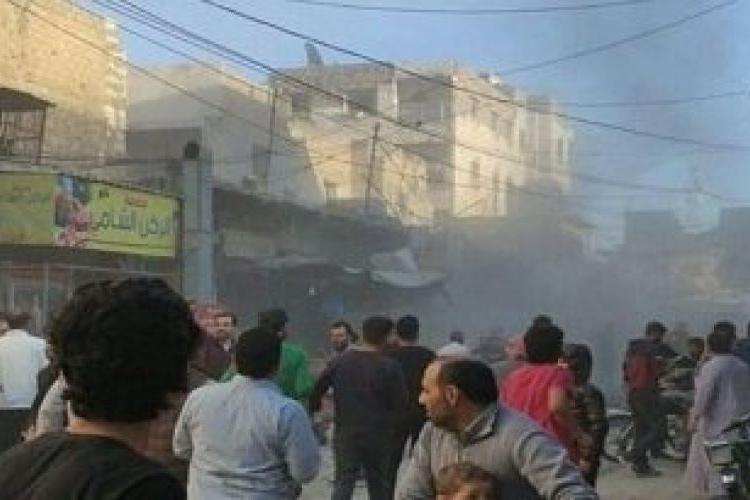Взрыв бомбы на рынке Алеппо
