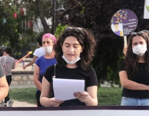 Dersim'de Yenigün Kadın Dayanışma Derneğinin, çocuk istismarcılarını aklayan yasa tasarısına ve barolara yönelik müdahalelere ilişkin basın açıklaması